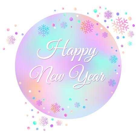 Happy New Year text for card for your design. Vector illustration. Holiday background. Bright colored snowflakes. Vector illustration. Çizim