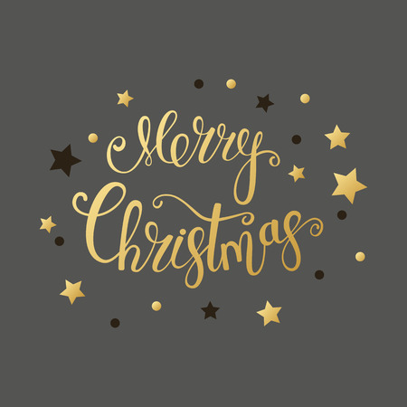 Merry Christmas gold text for card for your design. Calligraphy inscription with stars. Vector illustration.