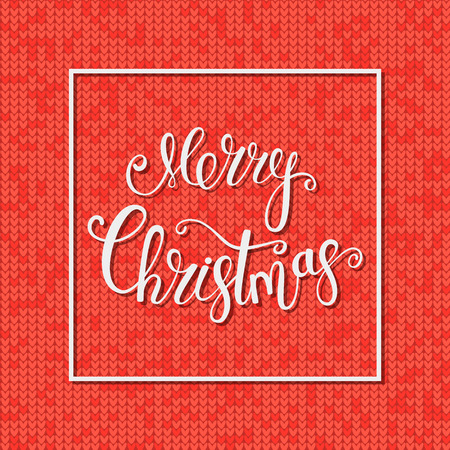 Greeting card. Merry Christmas. Holiday background. Knitting Pattern. Typography Design. Vector illustration. Çizim