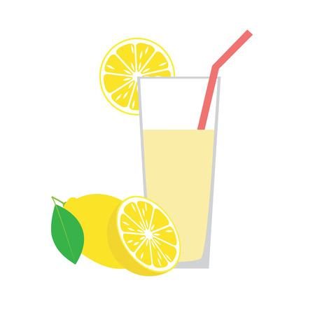 Lemon juice in a glass. Illustration