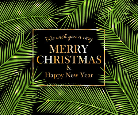 We wish you a very Merry Christmas and Happy New Year. Tropical card for your design. Vector illustration.