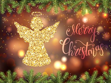 Merry Christmas. Golden angel decor. Holiday background. Vector illustration.