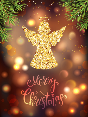 Merry Christmas card. Golden angel decor. Holiday background. Vector illustration. Stock Illustratie