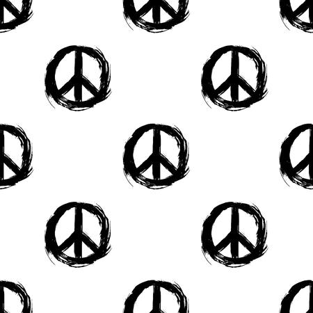 Peace symbol. Peace hippie symbol. Seamless pattern.