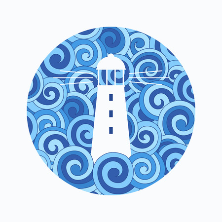 Lighting the way a lighthouse in the stormy sea. Stock Illustratie