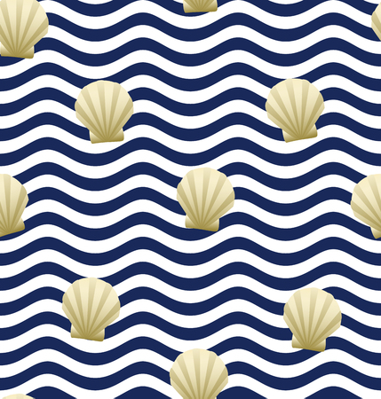 Shell background. Seamless pattern. Vector illustration. Wave pattern. Stock Illustratie
