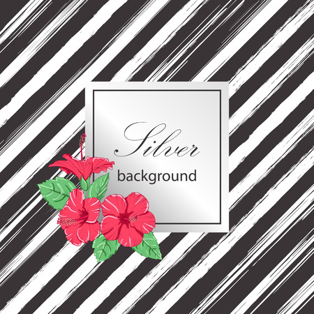 Tropical hibiscus flowers.  Silver pattern. Vector illustration.