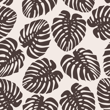 Exotic pattern with monstera leaves. Seamless background. Vector illustration. Çizim