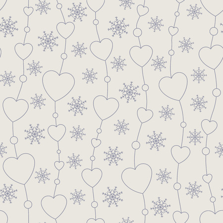 Celebratory pattern with hearts hanging on strings. Holiday backdrop.