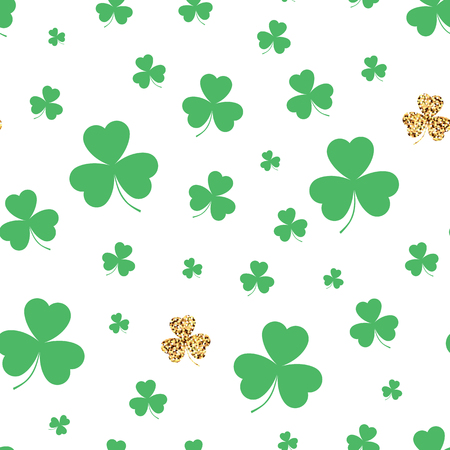 Background with green clover. Seamless pattern. Vector illustration.