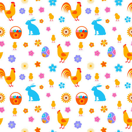 Easter egg and chick, bunny seamless vector pattern.