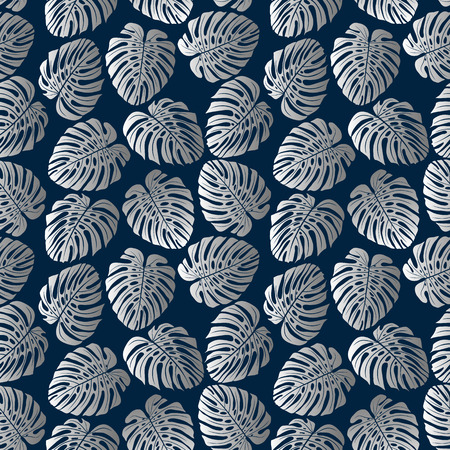 Exotic silver pattern with monstera leaves. Vector illustration.