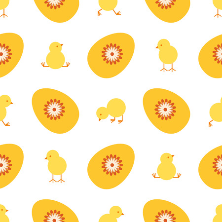 Easter egg and chick seamless vector pattern.vector illustration.