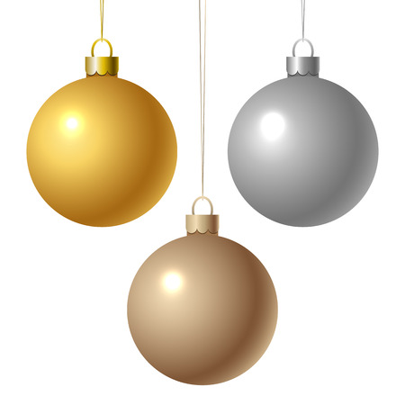 A set of gold and silver Christmas balls. Vector illustration. Çizim
