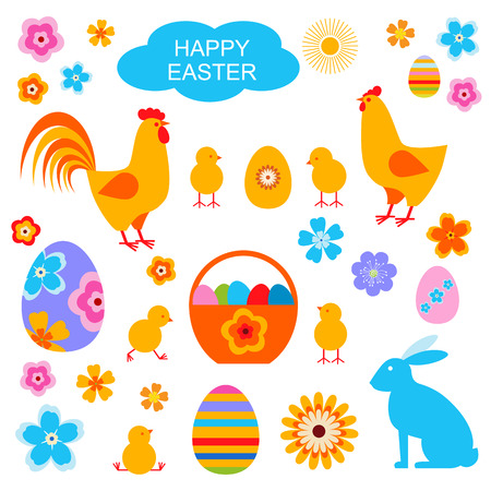 Easter egg and chick, bunny vector pattern.