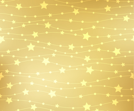 Holiday background, pattern with  gold stars. Vector illustration.