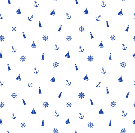 Cute seamless marine pattern with anchor, lighthouse, steering, boat.  Wave model. Vector illustration. Illustration