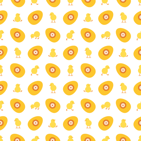 Easter egg and chick seamless vector pattern.