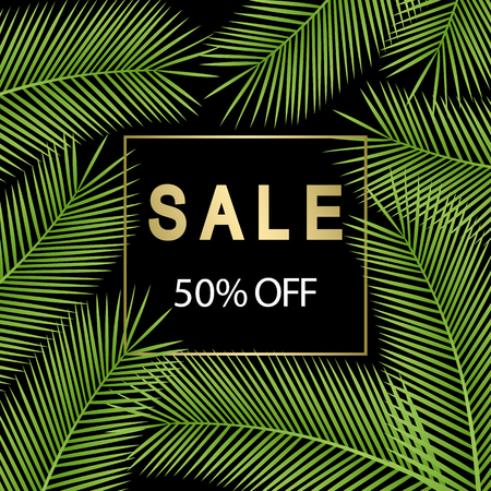 Poster for sale. Tropical palm leaves. Vector illustration.