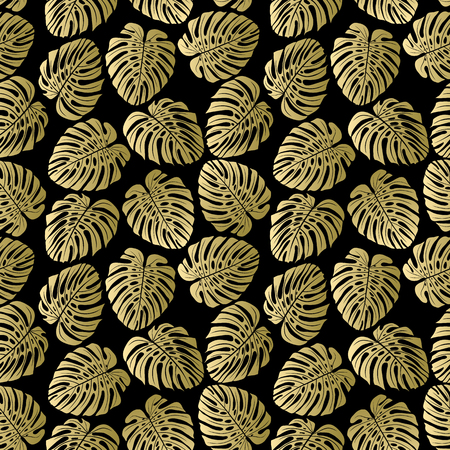 Exotic gold pattern with monstera leaves. Seamless tropical background. Vector illustration. Çizim