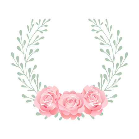 Wreath of beautiful pink roses with green twigs on a white background. Pattern for your design.
