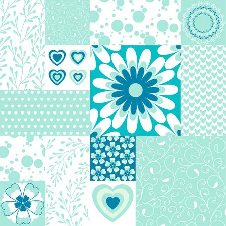 Floral patchwork tiles.  Vector illustration.