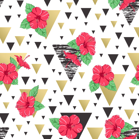 Seamless pattern of tropical hibiscus flowers. Abstract geometric background. Vector illustration.