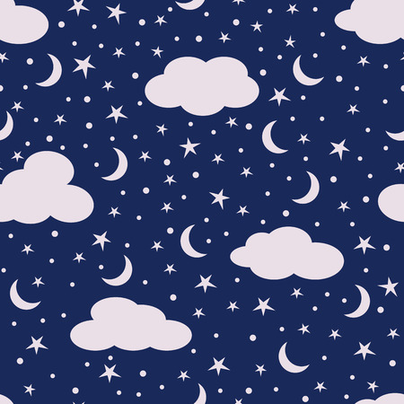 Clouds, moon and stars in the sky. Seamless pattern. Vector illustration. Stok Fotoğraf - 123069978