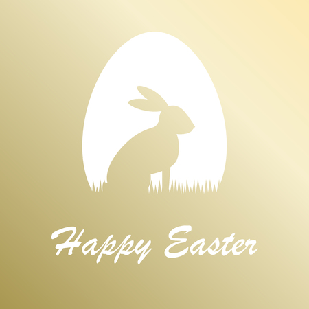 Gold greeting card Happy Easter. Vector illustration.