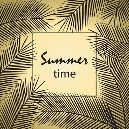Tropical palm leaves. Summer time poster. Vector illustration. Çizim