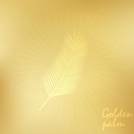 Gold palm leaves. Vector illustration. Stok Fotoğraf - 123069985
