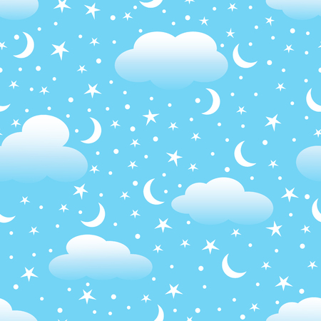 Clouds, moon and stars in the sky.  Vector illustration.