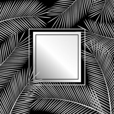 Palm leaves. Tropical background. Vector illustration. Çizim