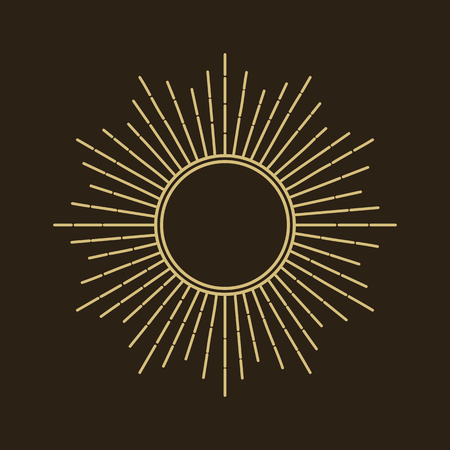 Silhouette of the sun, golden rays of the sun. Isolated vintage symbol on a black background. Vector illustration. Çizim