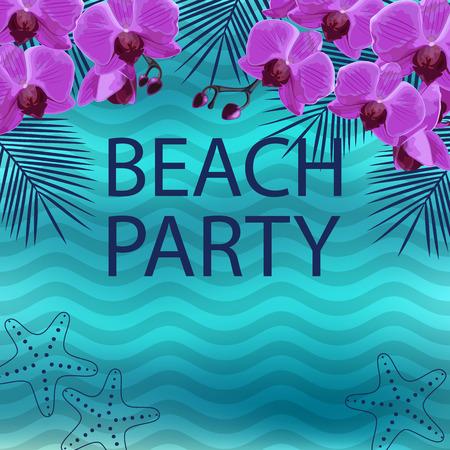 Summer beach party poster. Vector illustration.
