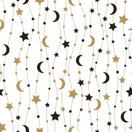 Nahtloses Muster mit Sternen und dem Mond. Vektor-Illustration.