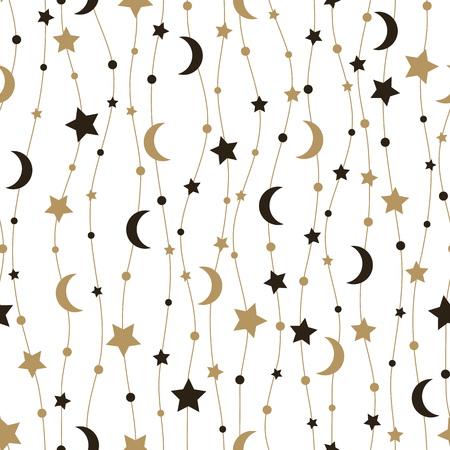 Seamless pattern with stars and the moon. Vector illustration.