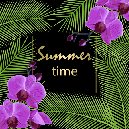 Tropical palm leaves and flower orchids. Summer time poster. Vector illustration. Stok Fotoğraf - 123069998
