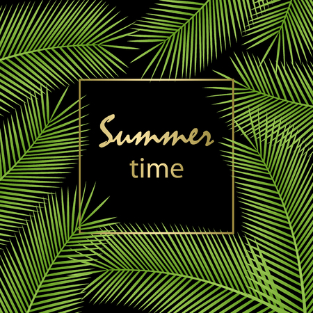 Tropical palm leaves. Summer time poster.