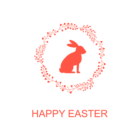 Congratulation Happy Easter. Easter Bunny. Typography Design.  Vector illustration.