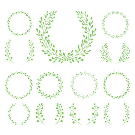 Ornament of the branches around. Retro pattern. Vector illustration.