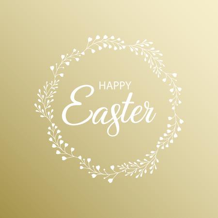 Happy Easter golden card. Vector illustration. Çizim