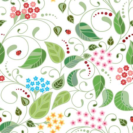 Vector flower pattern. Botanical exture of white background. Vector illustration.