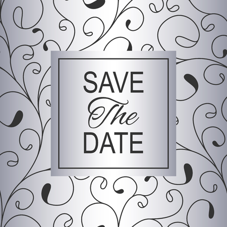 Save the Date. Silver invitation card for your design. Vector illustration. Stok Fotoğraf - 123106995