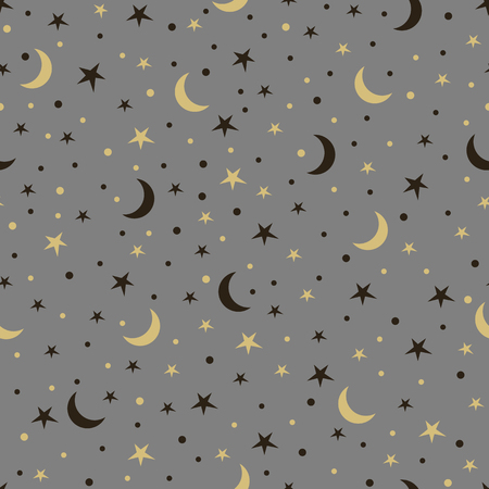 Seamless pattern with stars and the moon.
