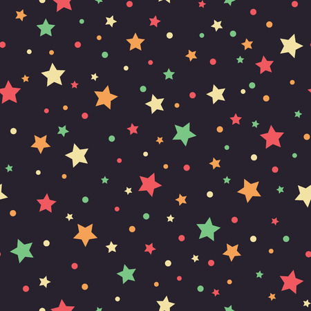 Holiday background, seamless pattern with colored stars. Vector illustration. Çizim