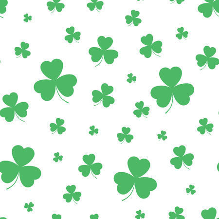 Pattern with green clover. Seamless pattern. Vector illustration.