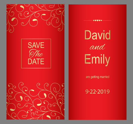 Save the Date. Red wedding invitation card for your design.