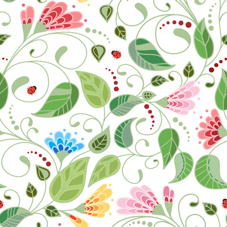Vector flower pattern. Botanical seamless texture of white background.