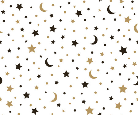 Holiday background, seamless pattern with gold stars and the moon. Vector illustration. Çizim